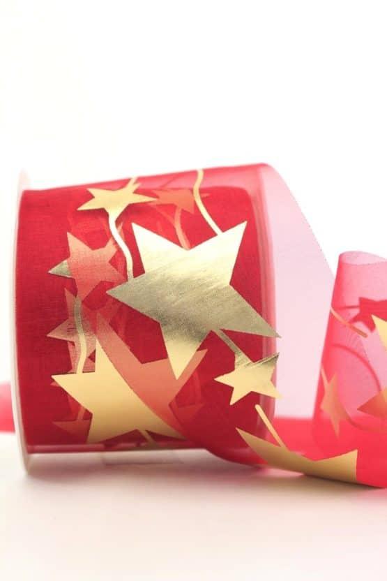 Organzaband mit goldenen Sternen, rot, 70 mm - organzaband-weihnachten, organzaband-gemustert, geschenkband-weihnachten