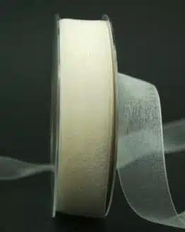 Organzaband mit Webkante, creme, 25 mm breit - webkante, hochzeit, organzaband-einfarbig, anlasse