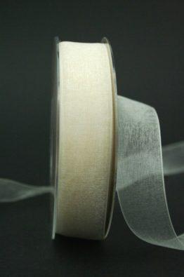 Organzaband mit Webkante creme 25mm (22011-25-420)
