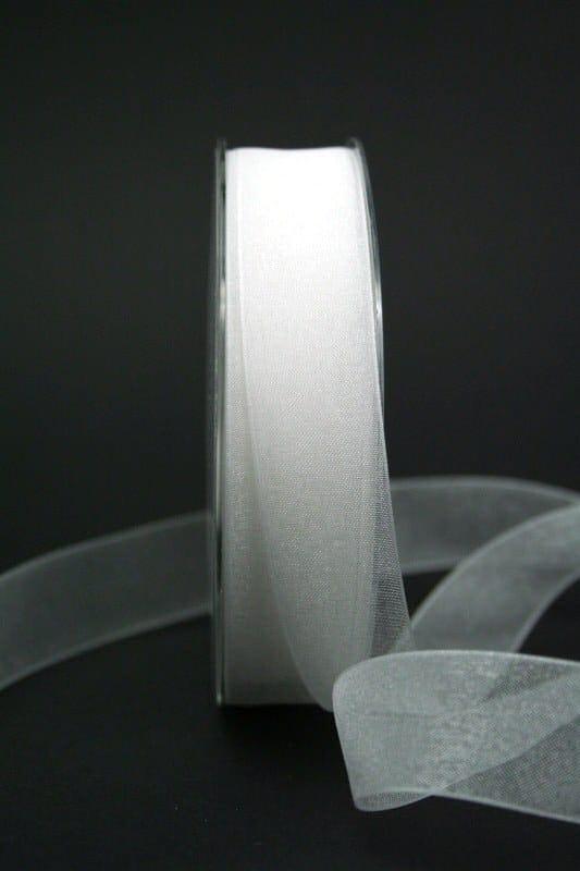 Organzaband mit Webkante, weiß, 25 mm breit - webkante, hochzeit, organzaband-einfarbig, anlasse