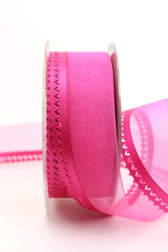 Organzaband pink, 40 mm, mit Designkante - organzaband-gemustert
