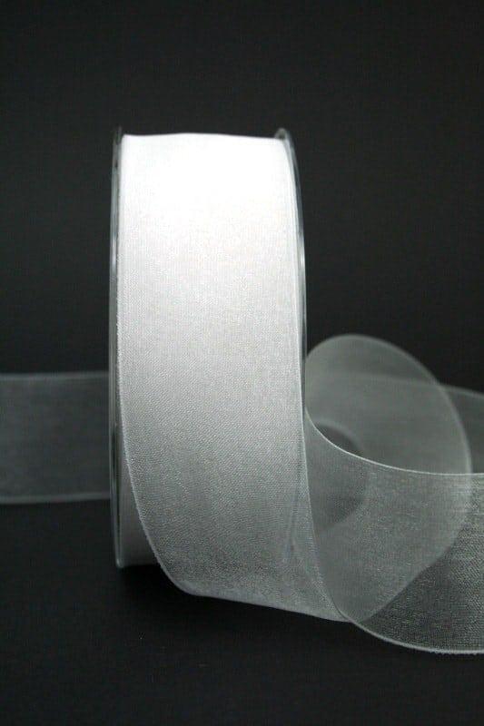 Organzaband mit Webkante, weiß, 40 mm breit - webkante, hochzeit, organzaband-einfarbig, anlasse
