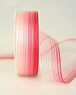 Organzaband rot-rosa mit Streifen, 25 mm - sonderangebot, organzaband-gemustert, 70-rabatt