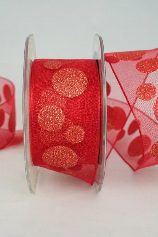Organzaband mit glitzer Kreisen, rot-gold, 40 mm - organzaband-weihnachten, geschenkband-weihnachten