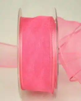 Organzaband pink, 40 mm, mit Drahtkante - organzaband, organzaband-mit-drahtkante, organzaband-einfarbig