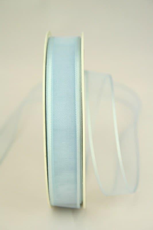 Organzaband mit Webkante, hellblau, 15 mm - sonderangebot, organzaband-einfarbig