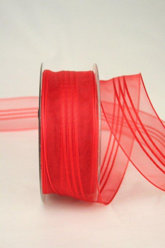 Organzaband mit Streifen, rot, 40 mm - sonderangebot, organzaband-gemustert, 50-rabatt