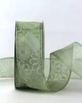 Organzband mit Blütenmuster, mint, 40 mm breit - organzaband, organzaband-gemustert, geschenkband-gemustert