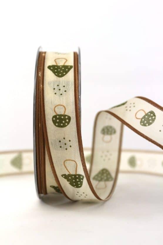 Organzaband Pilze, grün, 25 mm breit - geschenkband-gemustert