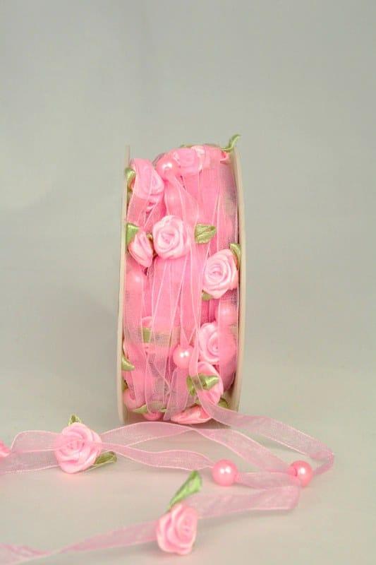 Organzaband mit Satin-Rosenblüten, rosa, 6 mm - sonderangebot, organzaband