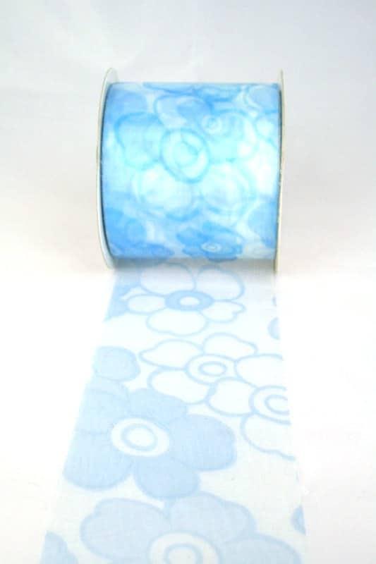 Organzaband mit Blüten, 70 mm breit, hellblau - sonderangebot, organzaband-gemustert, 70-rabatt