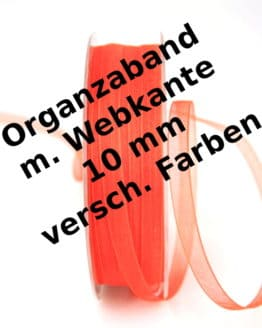 Organzaband 10 mm, mit Webkante - webkante, organzaband, organzaband-einfarbig, dauersortiment