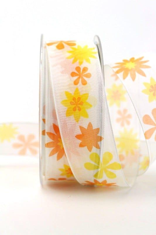 Organzaband gelb-orange mit Blüten, 40 mm - sonderangebot, organzaband-gemustert, 20-rabatt
