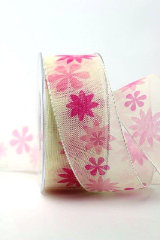 Organzaband pink mit Blüten, 40 mm - sonderangebot, organzaband-gemustert, 20-rabatt
