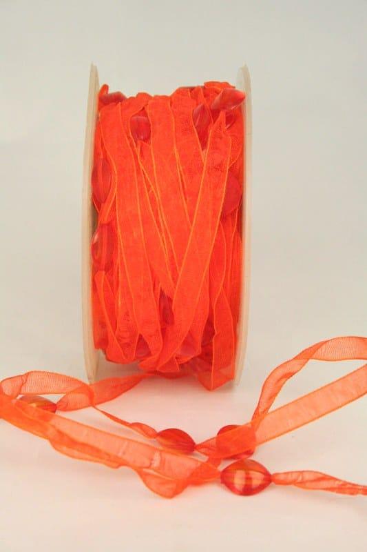 Organzaband mit Perlen, orange, 8 mm - sonderangebot, organzaband, 20-rabatt