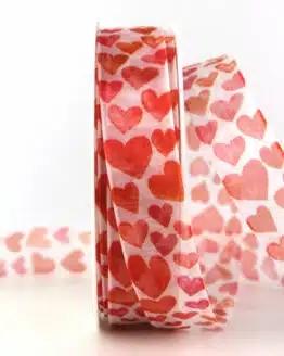Organzaband mit Herzen, 25 mm breit - valentinstag, organzaband, organzaband-gemustert, muttertag, geschenkband, geschenkband-mit-herzen, geschenkband-gemustert, geschenkband-fuer-anlaesse, anlasse