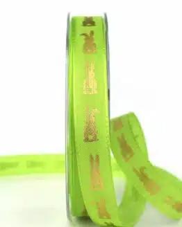 Geschenkband Osterhase, grün, 15 mm breit - ostern, geschenkband, geschenkband-gemustert, geschenkband-fuer-anlaesse, anlasse