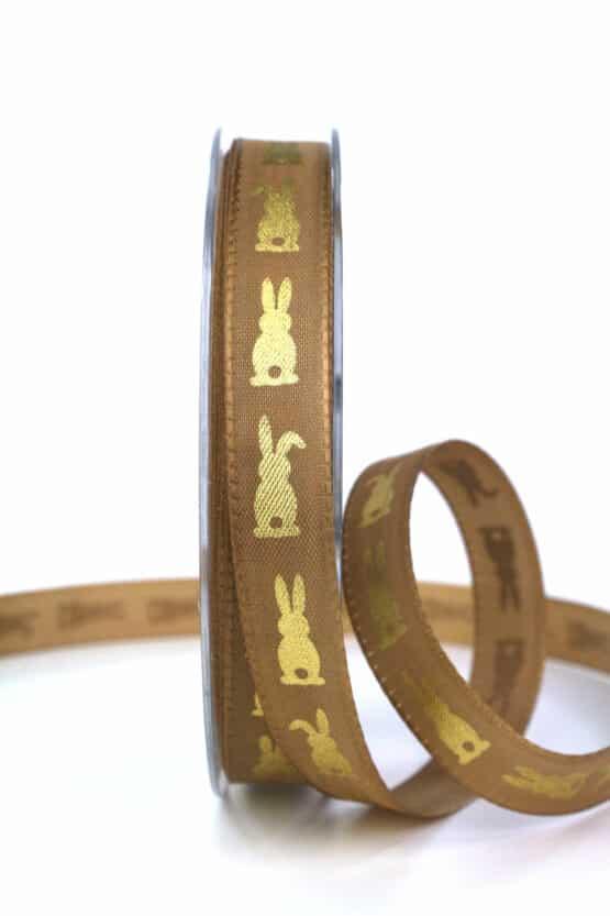 Geschenkband Osterhase, braun, 15 mm breit - ostern, geschenkband, geschenkband-gemustert, geschenkband-fuer-anlaesse, anlasse