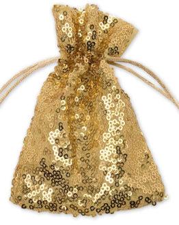 Pailletten-Säckchen gold, 180x130 mm - geschenkverpackung, geschenk-saeckchen