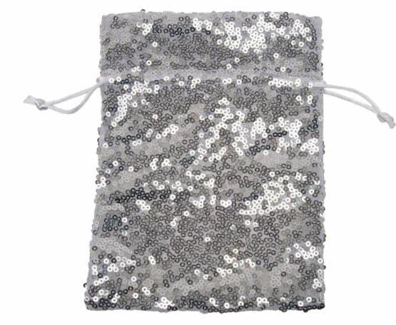 Pailletten-Säckchen silber, 130x100 mm - geschenkverpackung, geschenk-saeckchen
