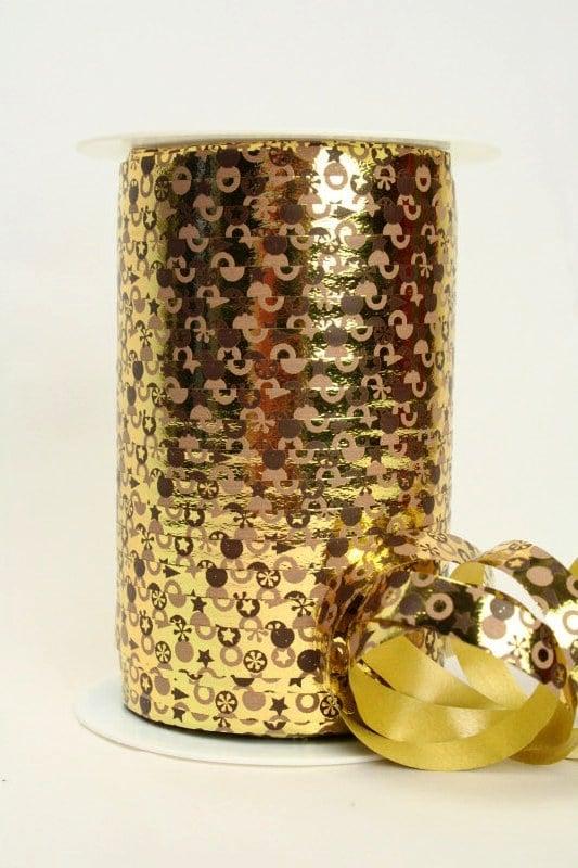 Poly-Ringelband 10 mm, gold mit braunem Druck - polyband