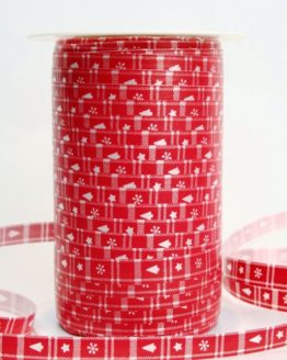 Poly-Ringelband 10 mm, rot mit silbernem Aufdruck - polyband