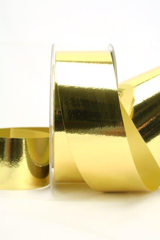 Wetterfestes Schleifenband gold metallic, 40 mm - weihnachtsband, polyband, outdoor-bander, geschenkband-weihnachten