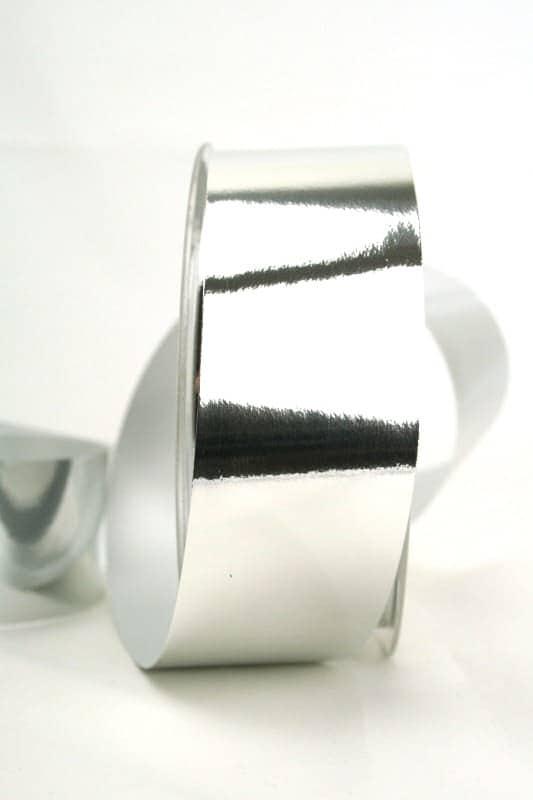 Wetterfestes Schleifenband silber metallic, 40 mm - weihnachtsband, polyband, outdoor-bander, geschenkband-weihnachten