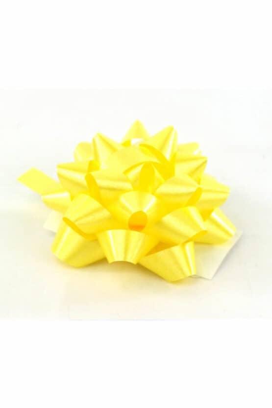 Polyband-Rosette, gelb, 60 mm groß, 25 Stück - polyband, fertigschleifen