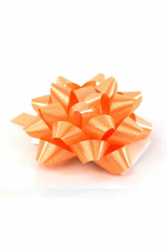 Polyband-Rosette, orange, 60 mm groß, 25 Stück - polyband, fertigschleifen