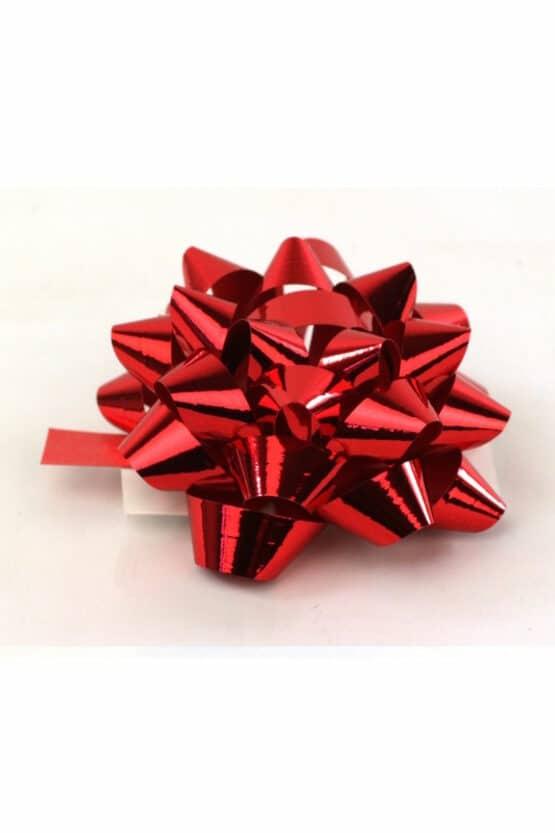 Polyband-Rosette, rotmetallic, 60 mm groß, 25 Stück - polyband, fertigschleifen