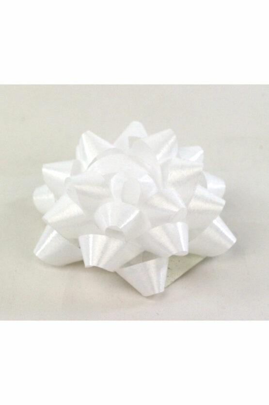 Polyband-Rosette, weiß, 60 mm groß, 25 Stück - polyband, fertigschleifen