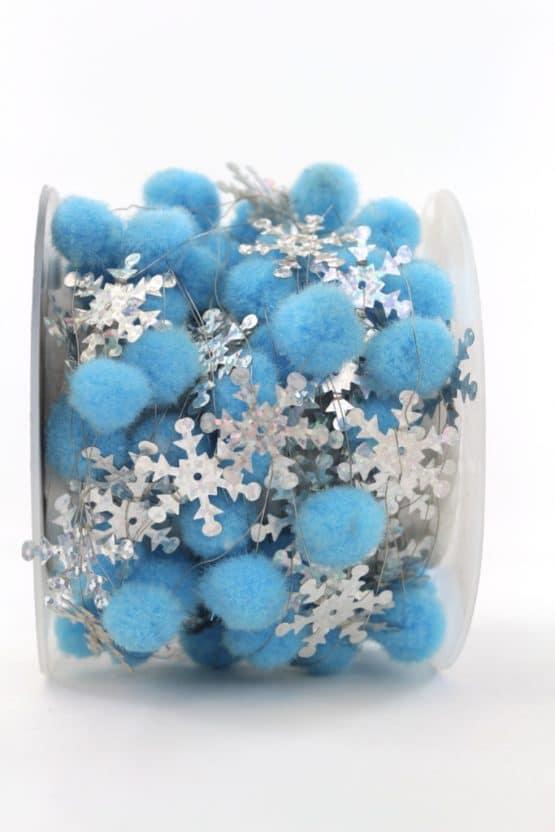 Pompom-Girlande mit Eiskristallen, hellblau, 25 mm - dekogirlande