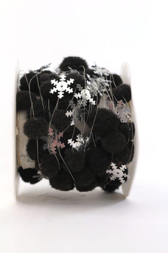 Pompom-Girlande mit Eiskristallen, schwarz, 25 mm - dekogirlande