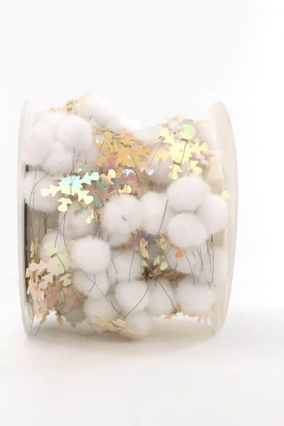 Pompom-Girlande mit Eiskristallen, weiß, 25 mm - dekogirlande