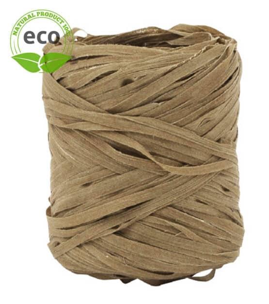 Natur-Raffia, braun, 10 mm breit, ECO - raffia, polyband, kompostierbare-geschenkbaender, geschenkband, eco-baender, bastband