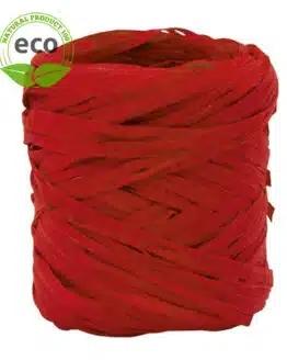 Natur-Raffia, rot, 10 mm breit, ECO - kompostierbare-geschenkbaender, eco-baender, raffia, polyband, geschenkband, bastband