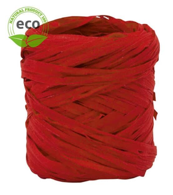 Natur-Raffia, rot, 10 mm breit, ECO - raffia, polyband, kompostierbare-geschenkbaender, geschenkband, eco-baender, bastband