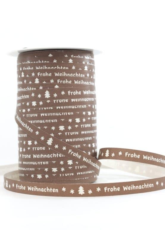 """Ringelband 10 mm, braun mit weiß """"Frohe Weihnachten"""" - polyband, geschenkband-weihnachten-gemustert"""