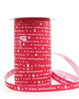 """Ringelband 10 mm, rot mit weiß """"Frohe Weihnachten"""" - polyband, geschenkband-weihnachten-gemustert"""