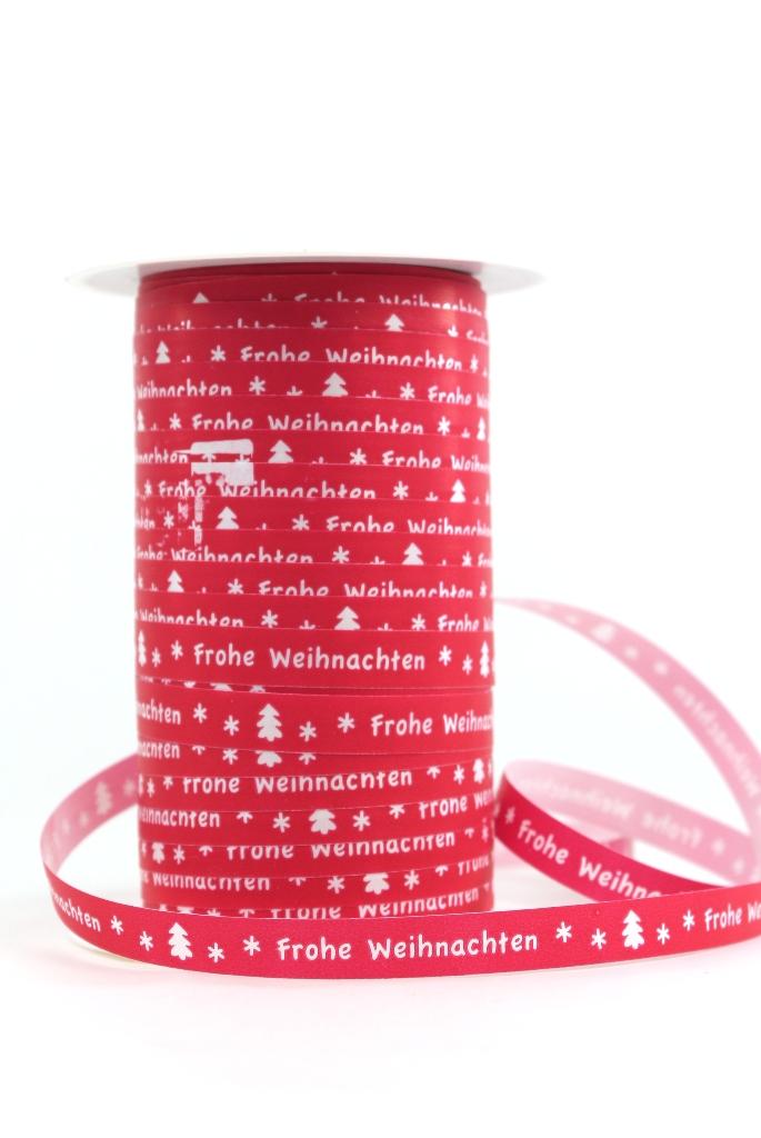 Geschenkband Frohe Weihnachten.Ringelband 10 Mm Rot Mit Weiss Frohe Weihnachten