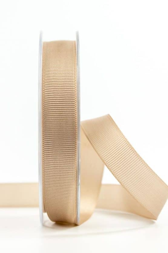 Ripsband, sand, 15 mm breit - geschenkband, geschenkband-einfarbig