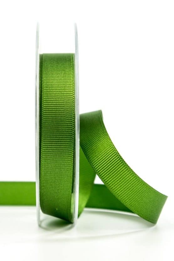 Ripsband, olivgrün, 15 mm breit - geschenkband, geschenkband-einfarbig