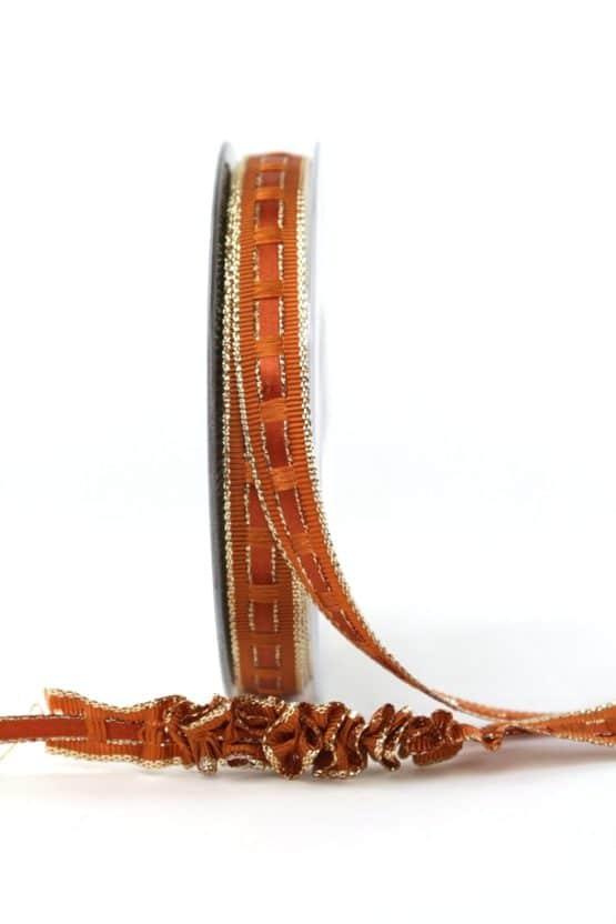 Dekoband Rips-/Satin rehbraun-gold, 15 mm breit - geschenkband-weihnachten-einfarbig, geschenkband-weihnachten