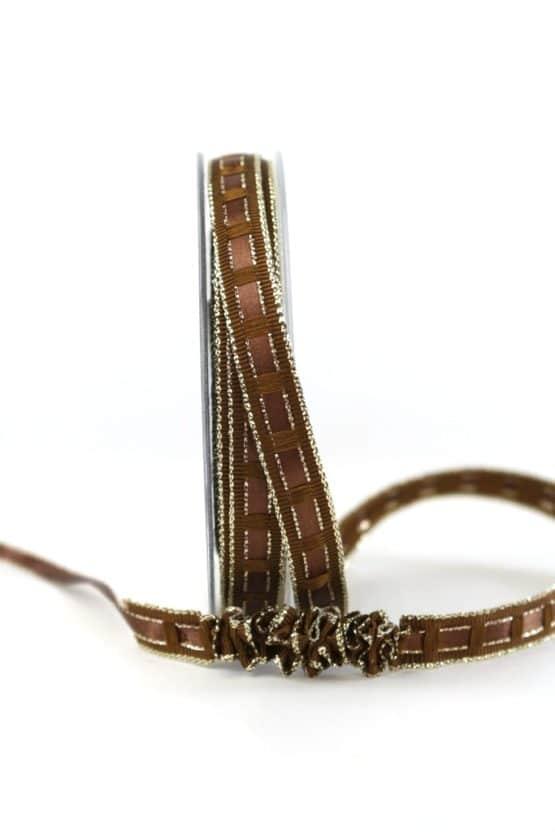 Dekoband Rips-/Satin schokobraun-gold, 15 mm breit - geschenkband-weihnachten-einfarbig, geschenkband-weihnachten