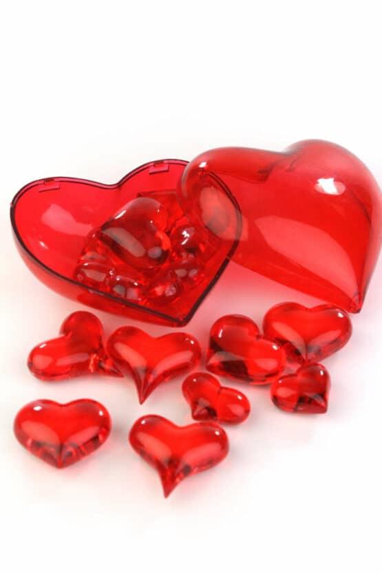 Streuherzen Acryl rot, Größen sortiert, 16 St. - valentinstag, muttertag, hochzeitsdeko