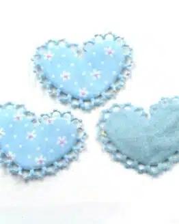 Rüschenherz m. Blümchenmuster, hellblau, 52 mm, 20 Stück - valentinstag, accessoires