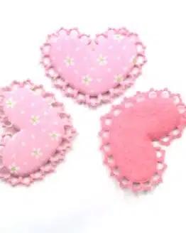 Rüschenherz m. Blümchenmuster, rosa, 52 mm, 20 Stück - valentinstag, accessoires