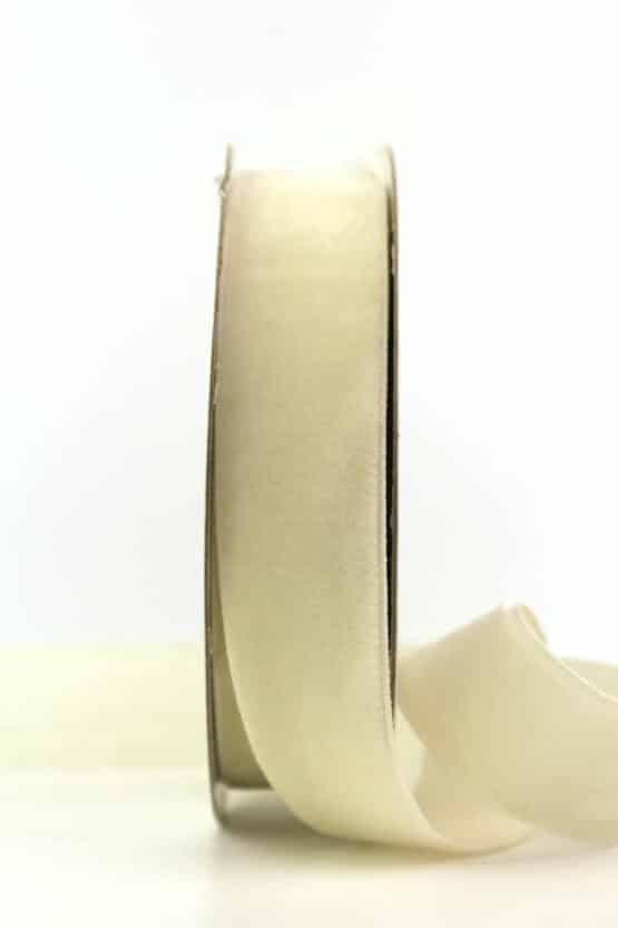 Samtband creme, 25 mm - samtband, geschenkband, dekoband