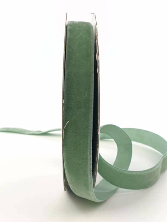 Samtband eisgrün, 15 mm - samtband, geschenkband, dekoband
